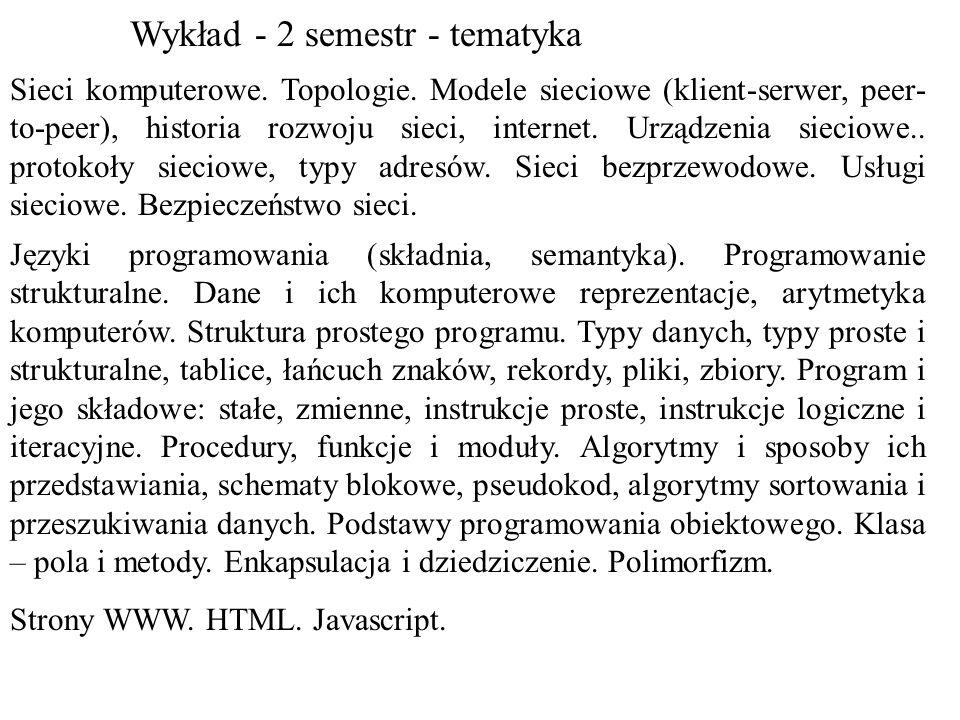Sieci komputerowe. Topologie. Modele sieciowe (klient-serwer, peer- to-peer), historia rozwoju sieci, internet. Urządzenia sieciowe.. protokoły siecio