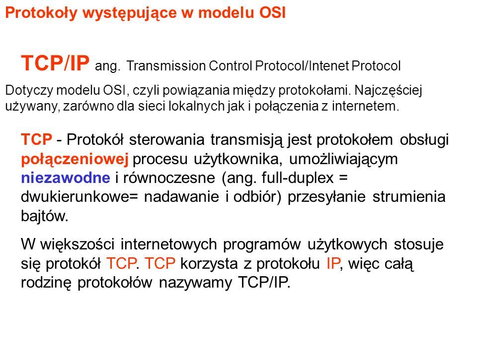 TCP - Protokół sterowania transmisją jest protokołem obsługi połączeniowej procesu użytkownika, umożliwiającym niezawodne i równoczesne (ang.
