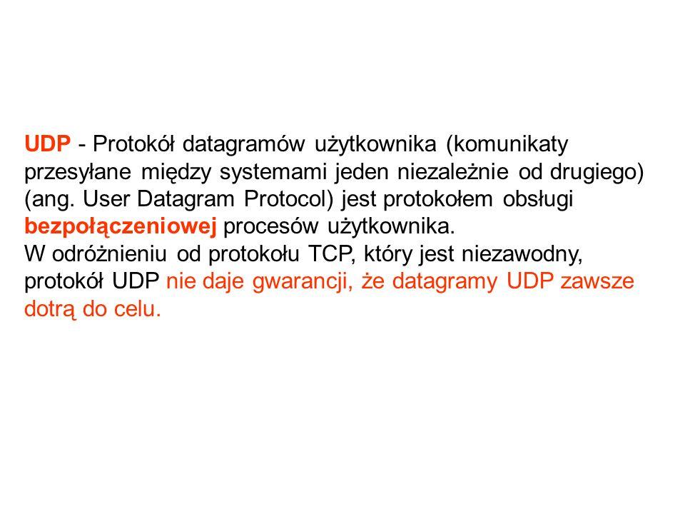 UDP - Protokół datagramów użytkownika (komunikaty przesyłane między systemami jeden niezależnie od drugiego) (ang.