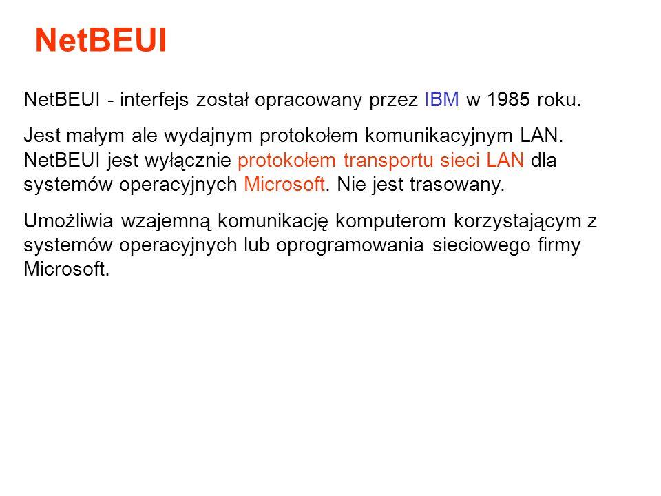 NetBEUI - interfejs został opracowany przez IBM w 1985 roku. Jest małym ale wydajnym protokołem komunikacyjnym LAN. NetBEUI jest wyłącznie protokołem