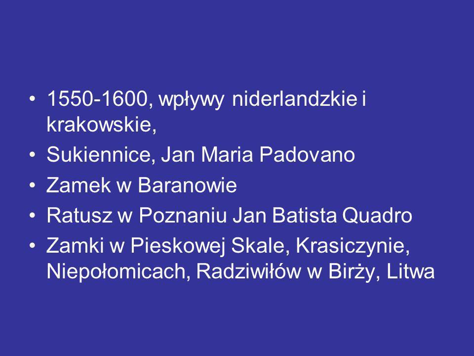 1550-1600, wpływy niderlandzkie i krakowskie, Sukiennice, Jan Maria Padovano Zamek w Baranowie Ratusz w Poznaniu Jan Batista Quadro Zamki w Pieskowej