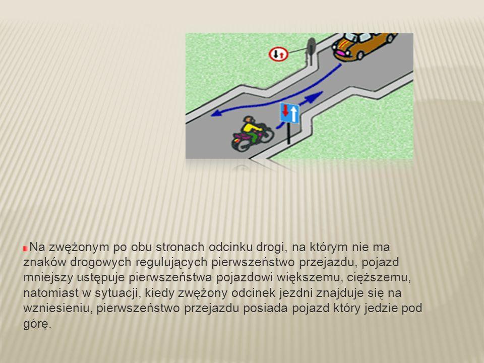 Na zwężonym po obu stronach odcinku drogi, na którym nie ma znaków drogowych regulujących pierwszeństwo przejazdu, pojazd mniejszy ustępuje pierwszeńs
