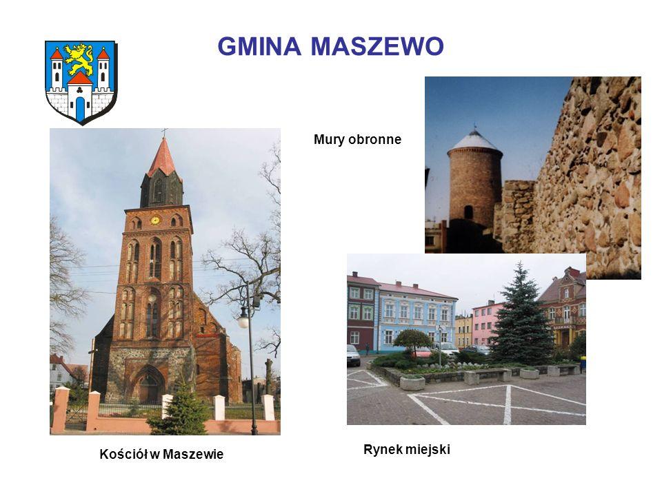 GMINA MASZEWO Kościół w Maszewie Rynek miejski Mury obronne