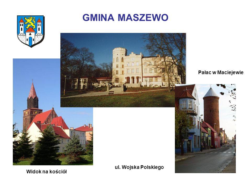 GMINA MASZEWO Widok na kościół ul. Wojska Polskiego Pałac w Maciejewie