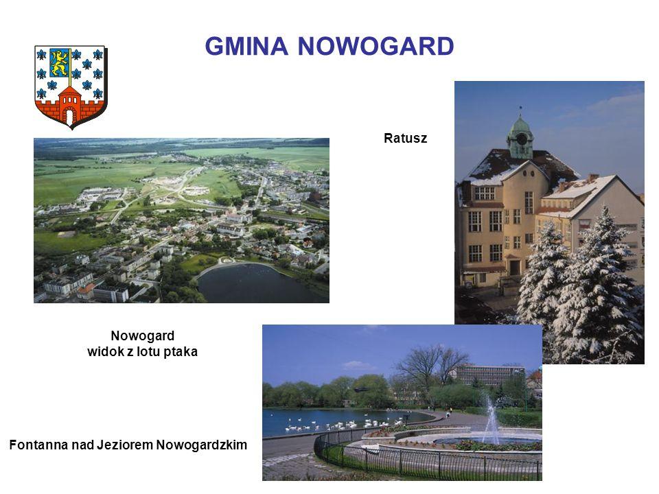 GMINA NOWOGARD Fontanna nad Jeziorem Nowogardzkim Ratusz Nowogard widok z lotu ptaka