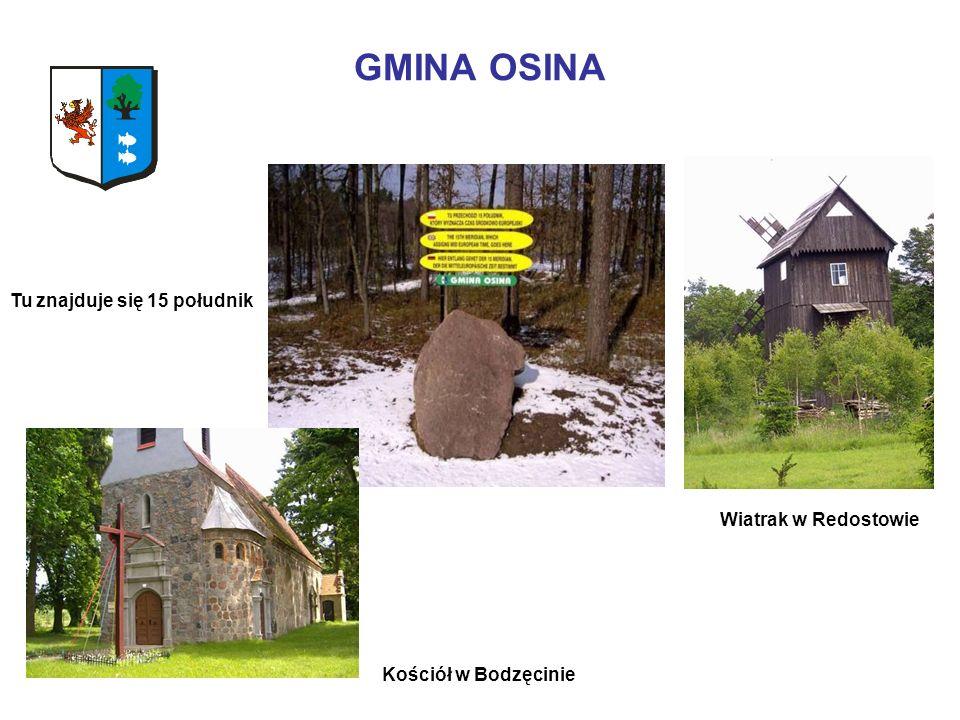 GMINA OSINA Wiatrak w Redostowie Kościół w Bodzęcinie Tu znajduje się 15 południk