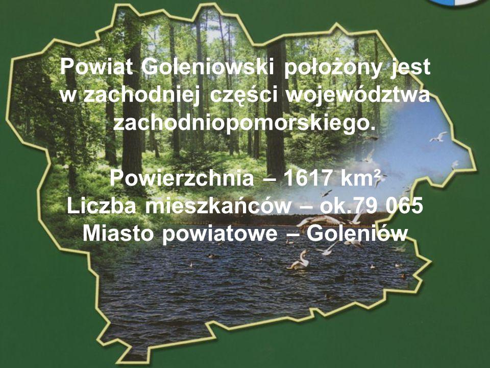 POWIAT GOLENIOWSKI Powiat Goleniowski położony jest w zachodniej części województwa zachodniopomorskiego. Powierzchnia – 1617 km² Liczba mieszkańców –