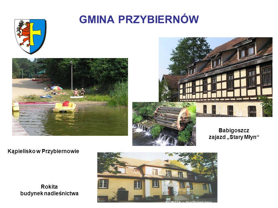 GMINA PRZYBIERNÓW Babigoszcz zajazd Stary Młyn Kąpielisko w Przybiernowie Rokita budynek nadleśnictwa