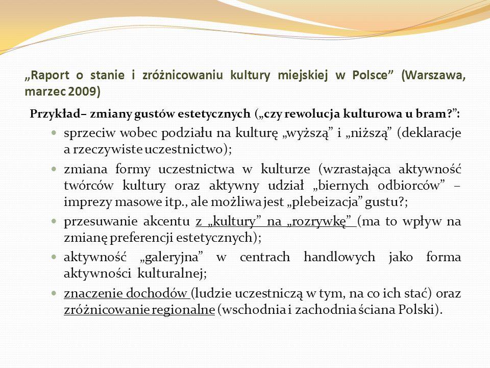 Raport o stanie i zróżnicowaniu kultury miejskiej w Polsce (Warszawa, marzec 2009) Przykład– zmiany gustów estetycznych (czy rewolucja kulturowa u bra