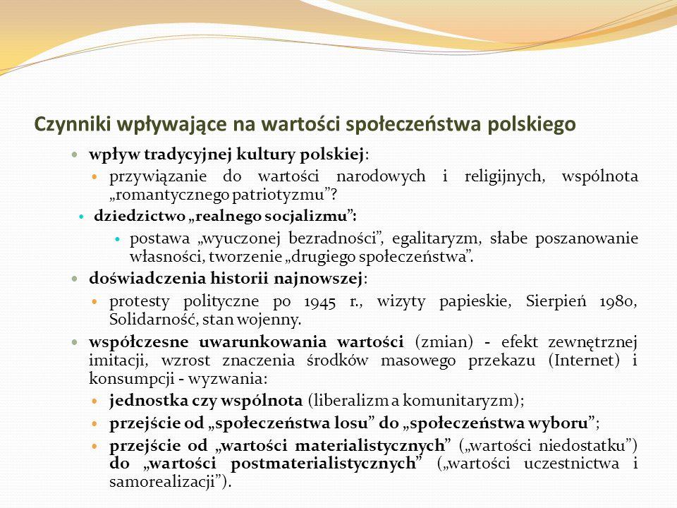 Czynniki wpływające na wartości społeczeństwa polskiego wpływ tradycyjnej kultury polskiej: przywiązanie do wartości narodowych i religijnych, wspólno
