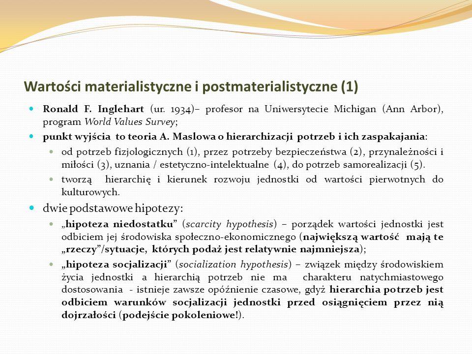 Wartości materialistyczne i postmaterialistyczne (1) Ronald F. Inglehart (ur. 1934)– profesor na Uniwersytecie Michigan (Ann Arbor), program World Val