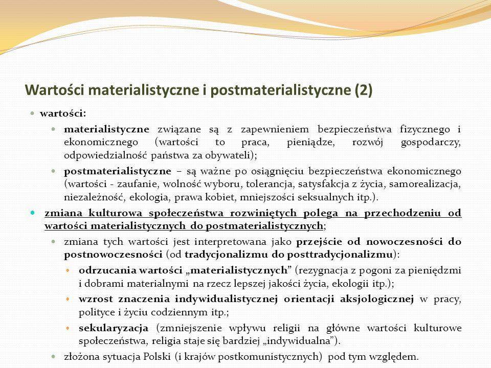 Wartości materialistyczne i postmaterialistyczne (2) wartości: materialistyczne związane są z zapewnieniem bezpieczeństwa fizycznego i ekonomicznego (