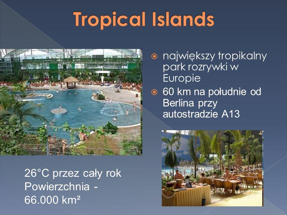 Las tropikalny Laguna Bali Las deszczowy Plaża Dżungla Klub dla dzieci Koncerty Egzotyczna kuchnia Zjeżdżalnia – 27 metrów długości Lot balonem na wysokość 22 metrów