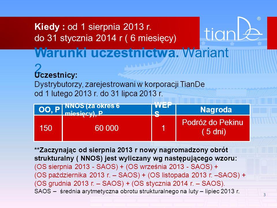 3 Warunki uczestnictwa. Wariant 2 Uczestnicy: Dystrybutorzy, zarejestrowani w korporacji TianDe od 1 lutego 2013 r. do 31 lipca 2013 r. **Zaczynając o