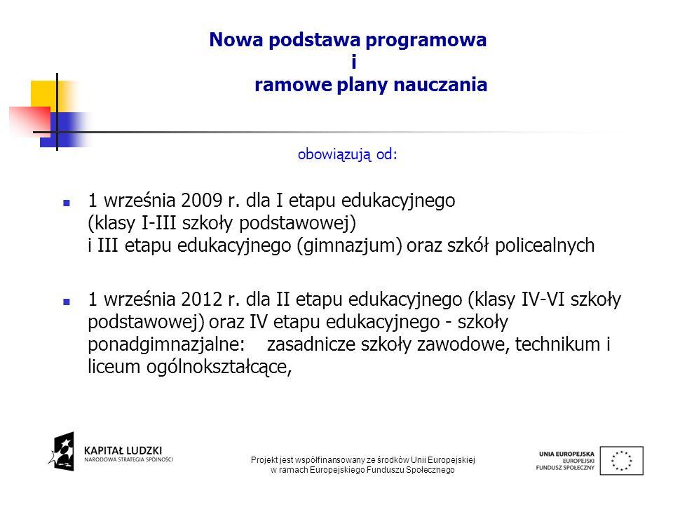 Nowa podstawa programowa i ramowe plany nauczania obowiązują od: 1 września 2009 r. dla I etapu edukacyjnego (klasy I-III szkoły podstawowej) i III et