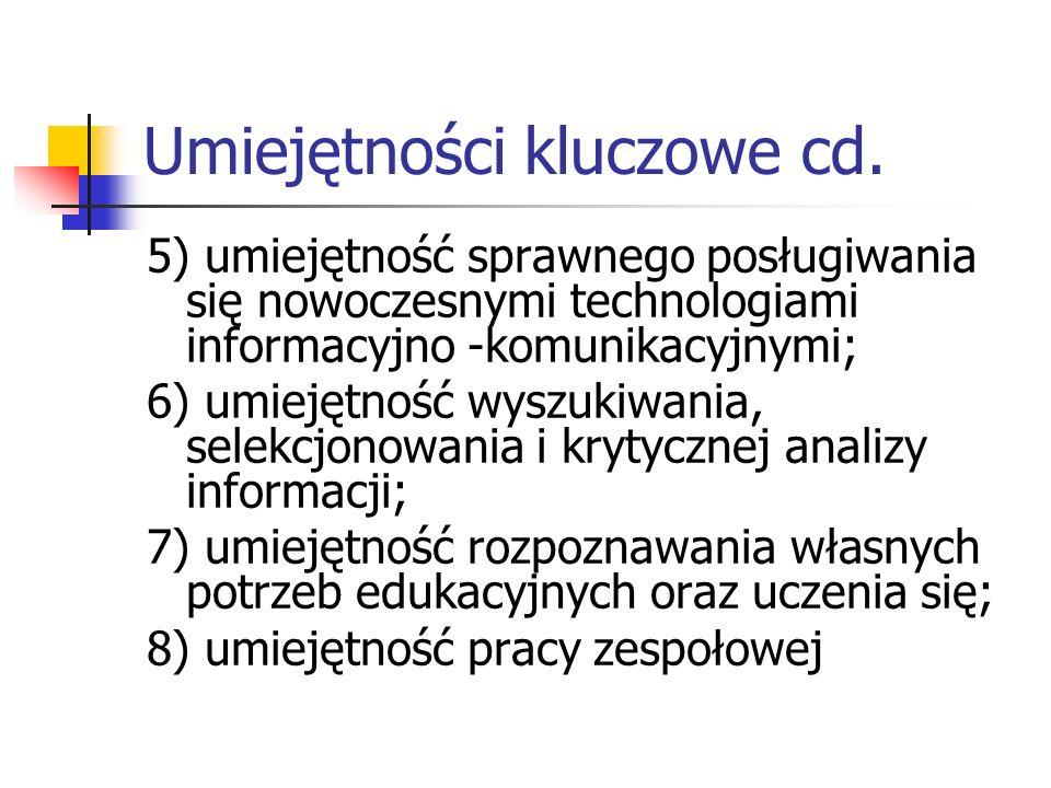 Umiejętności kluczowe cd. 5) umiejętność sprawnego posługiwania się nowoczesnymi technologiami informacyjno -komunikacyjnymi; 6) umiejętność wyszukiwa