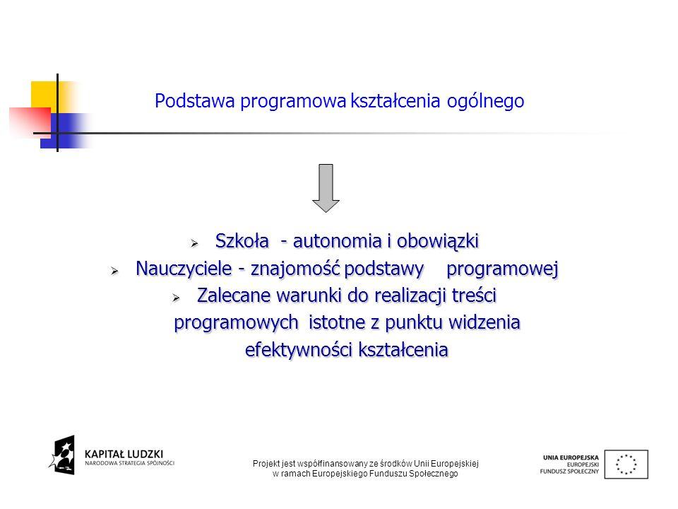 Podstawa programowa kształcenia ogólnego Szkoła - autonomia i obowiązki Szkoła - autonomia i obowiązki Nauczyciele - znajomość podstawy programowej Na