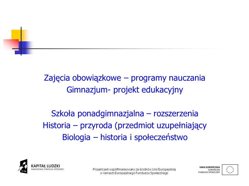 Zajęcia obowiązkowe – programy nauczania Gimnazjum- projekt edukacyjny Szkoła ponadgimnazjalna – rozszerzenia Historia – przyroda (przedmiot uzupełnia