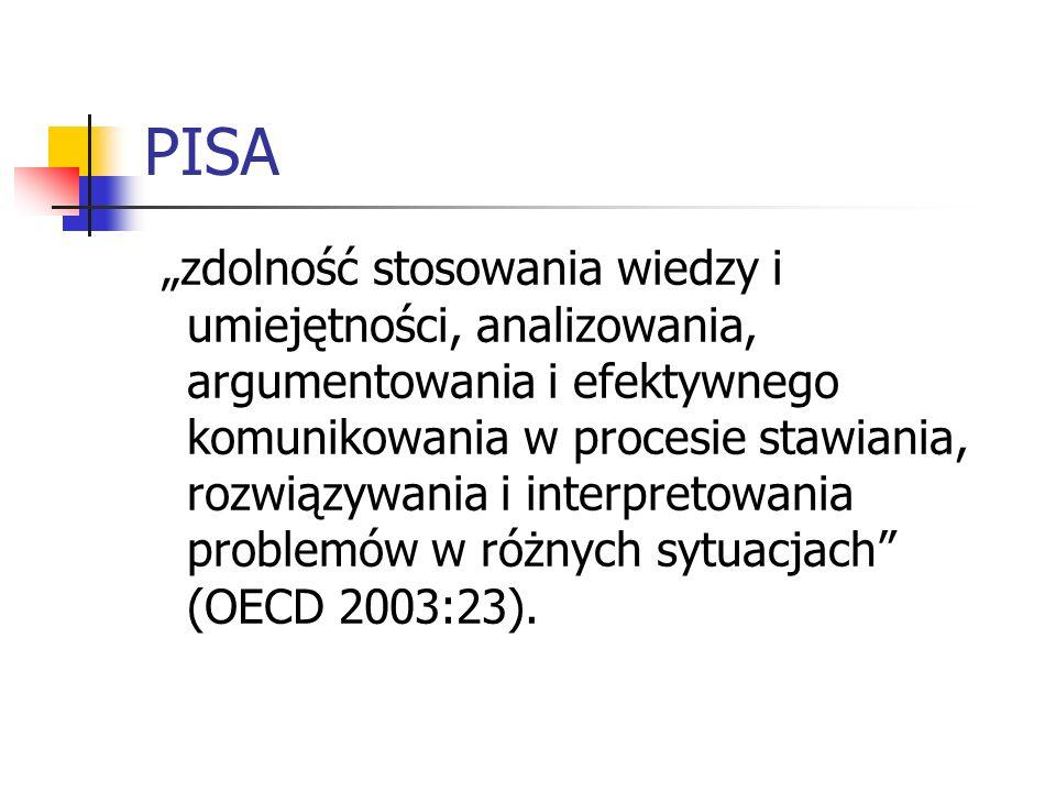 PISA zdolność stosowania wiedzy i umiejętności, analizowania, argumentowania i efektywnego komunikowania w procesie stawiania, rozwiązywania i interpr