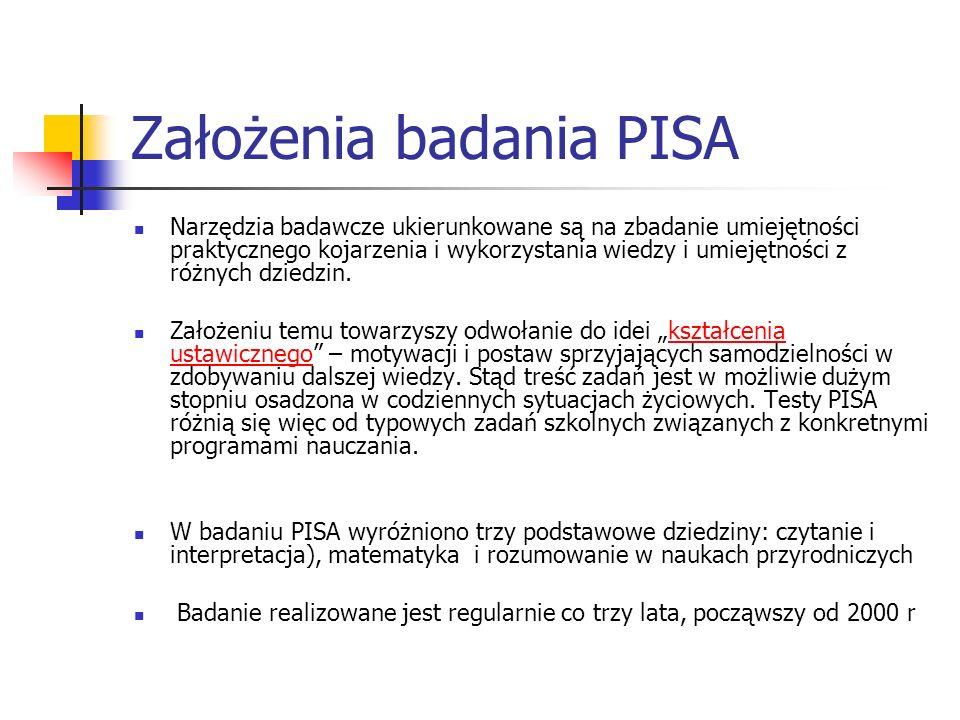 Założenia badania PISA Narzędzia badawcze ukierunkowane są na zbadanie umiejętności praktycznego kojarzenia i wykorzystania wiedzy i umiejętności z ró