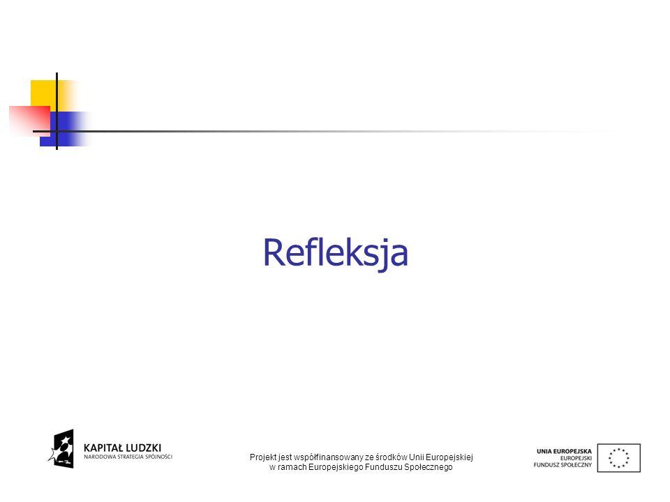 Refleksja Projekt jest współfinansowany ze środków Unii Europejskiej w ramach Europejskiego Funduszu Społecznego