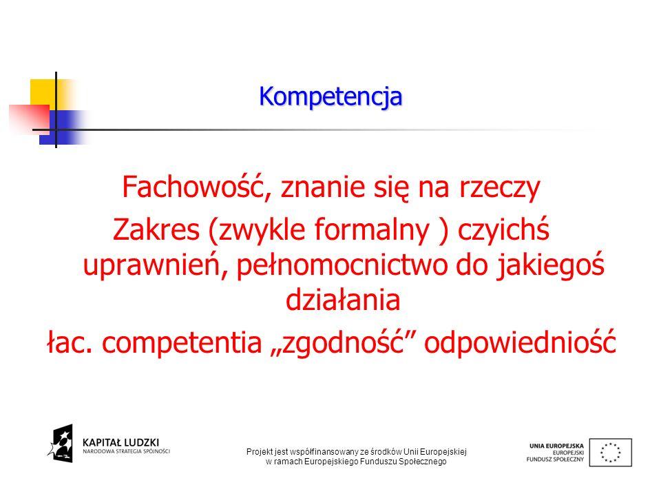 Fachowość, znanie się na rzeczy Zakres (zwykle formalny ) czyichś uprawnień, pełnomocnictwo do jakiegoś działania łac. competentia zgodność odpowiedni