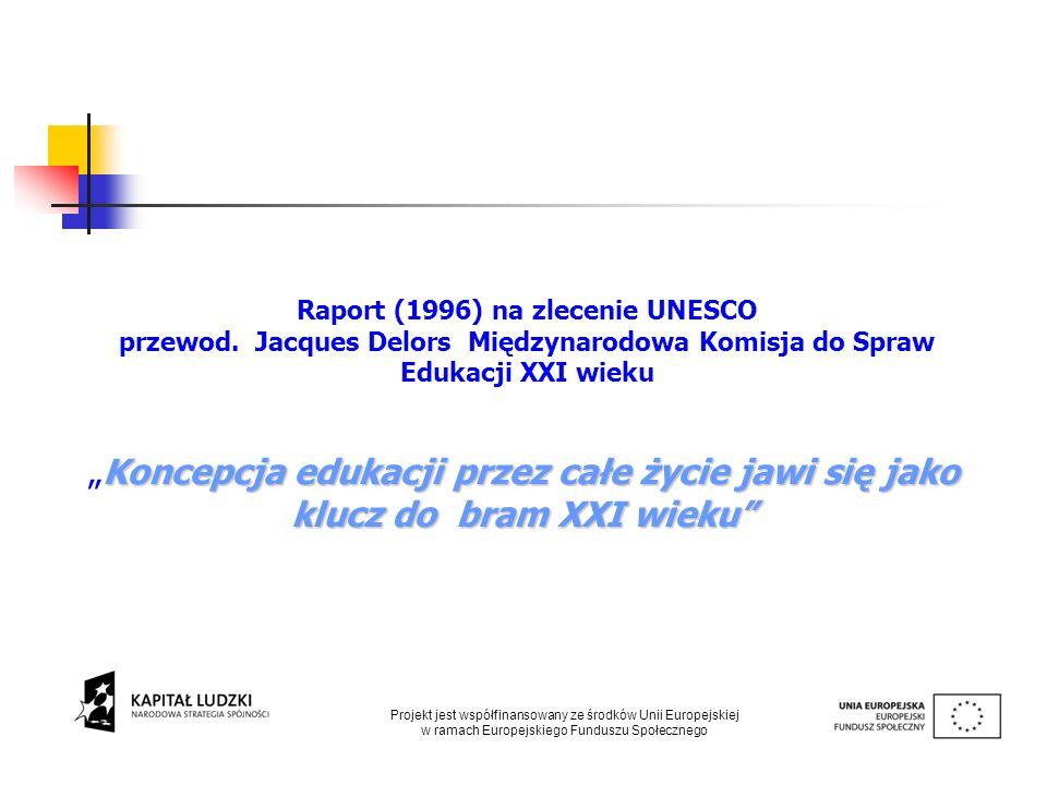 Raport (1996) na zlecenie UNESCO przewod. Jacques Delors Międzynarodowa Komisja do Spraw Edukacji XXI wieku Koncepcja edukacji przez całe życie jawi s