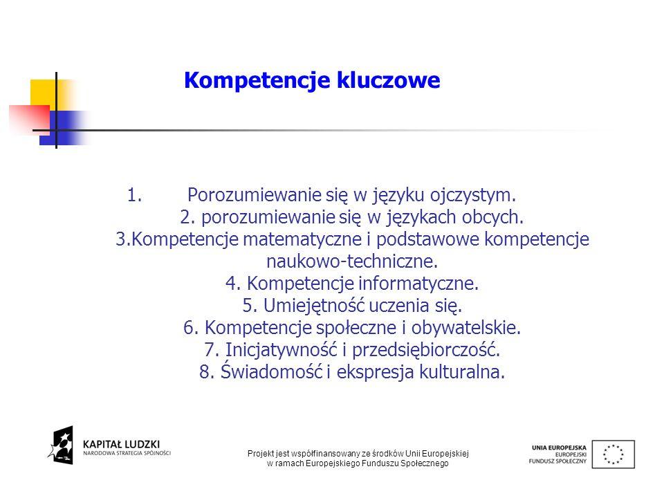 1.Porozumiewanie się w języku ojczystym. 2. porozumiewanie się w językach obcych. 3.Kompetencje matematyczne i podstawowe kompetencje naukowo-technicz