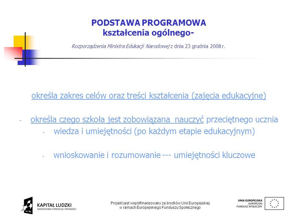 Podstawa programowa kształcenia ogólnego Szkoła - autonomia i obowiązki Szkoła - autonomia i obowiązki Nauczyciele - znajomość podstawy programowej Nauczyciele - znajomość podstawy programowej Zalecane warunki do realizacji treści Zalecane warunki do realizacji treści programowych istotne z punktu widzenia efektywności kształcenia Projekt jest współfinansowany ze środków Unii Europejskiej w ramach Europejskiego Funduszu Społecznego