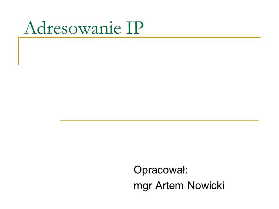 Adresy IP Mamy adresy sieci LAN oraz sieci WAN.