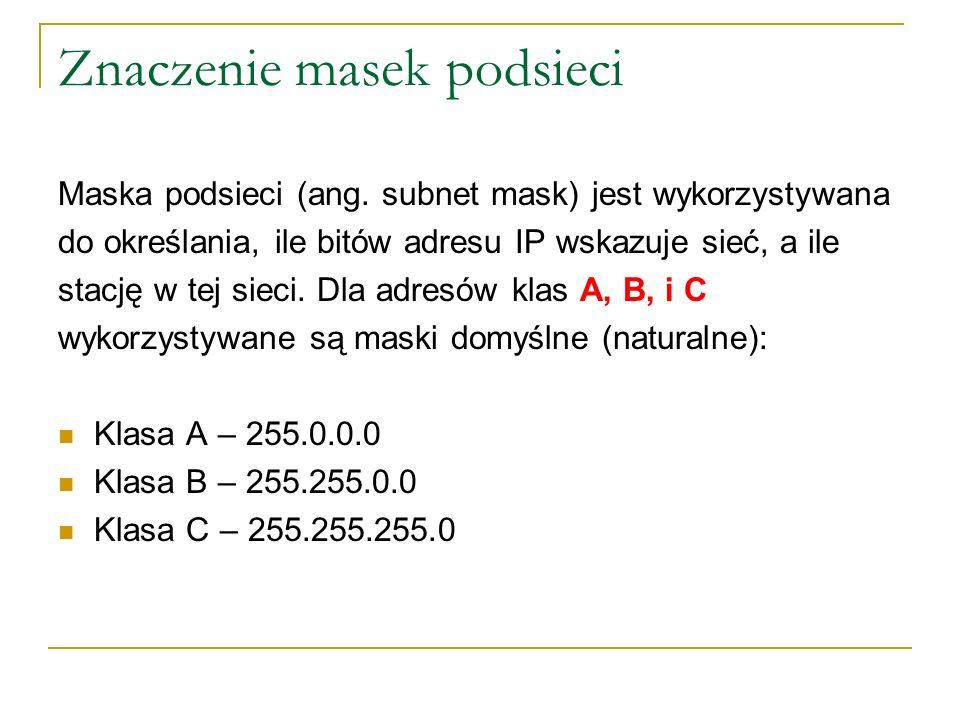 Proces AND Maska wskazuje czy dany host (stacja) znajduje się w sieci lokalnej czy odległej.