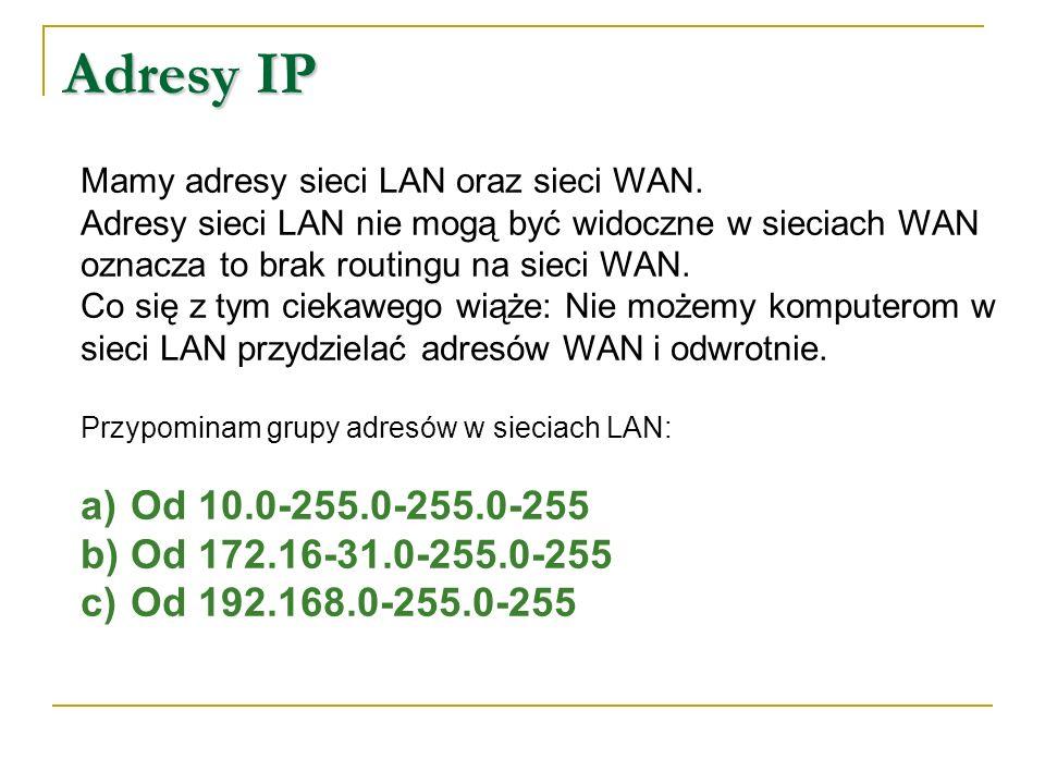 Inne adresy IP 127.0.0.1 127.0.0.1 – adres wirtualnego interfejsu sieciowego każdego komputera.
