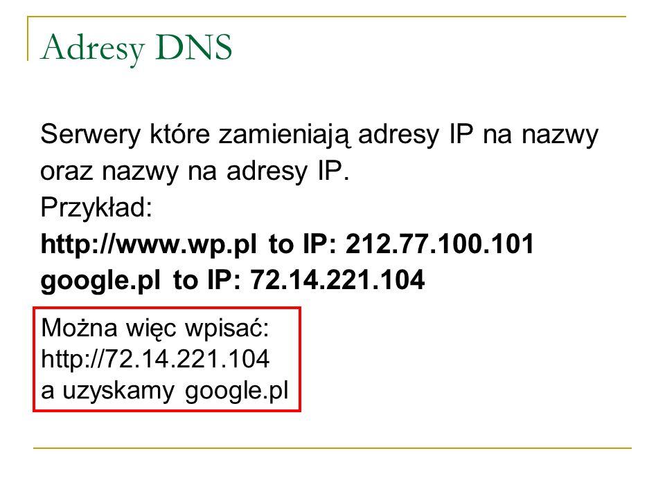 Adresy DNS Serwery które zamieniają adresy IP na nazwy oraz nazwy na adresy IP. Przykład: http://www.wp.pl to IP: 212.77.100.101 google.plto IP: 72.14