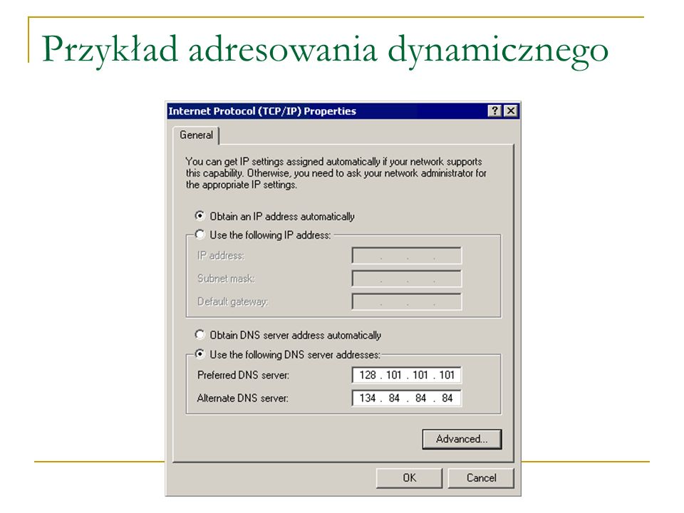 Jak działa DHCP Serwer DHCP 10.0.0.4 – 10.0.0.150 Maska: 255.0.0.0 Host_1 Host_4 Host_2 Host_3 Serwer, router lub switch rozsyła pulę adresów IP Komputer jest już domyślną bramą do WAN