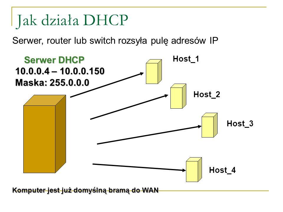 Zalety i wady adresowania statycznego Zalety: Bardzo łatwa diagnoza sieci (można wszystko !!!), Możliwość ograniczania przepustowości sieci dla danego IP Wady: Łatwo o pomyłkę (powielenie IP) Upierdliwe konfigurowanie hostów Dobry (ale nie leniwy) administrator sam określa czy konfigurować sieć z adresowaniem statycznym.