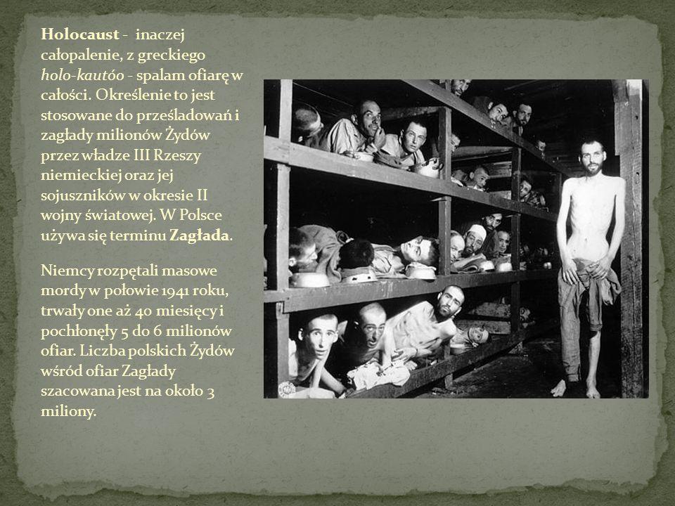 Holocaust - inaczej całopalenie, z greckiego holo-kautóo - spalam ofiarę w całości. Określenie to jest stosowane do prześladowań i zagłady milionów Ży