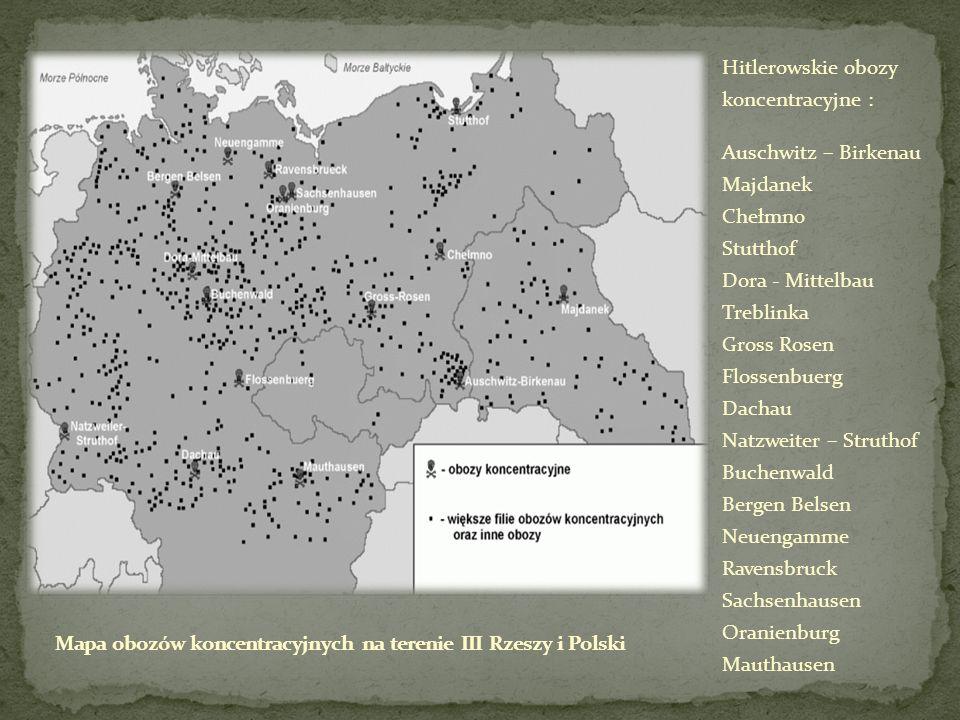 Hitlerowskie obozy koncentracyjne : Auschwitz – Birkenau Majdanek Chełmno Stutthof Dora - Mittelbau Treblinka Gross Rosen Flossenbuerg Dachau Natzweit