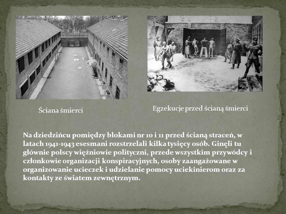 Ściana śmierci Egzekucje przed ścianą śmierci Na dziedzińcu pomiędzy blokami nr 10 i 11 przed ścianą straceń, w latach 1941-1943 esesmani rozstrzelali