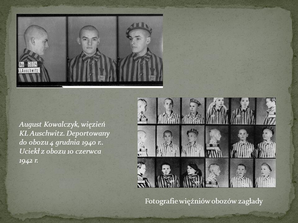 August Kowalczyk, więzień KL Auschwitz. Deportowany do obozu 4 grudnia 1940 r.. Uciekł z obozu 10 czerwca 1942 r. Fotografie więźniów obozów zagłady