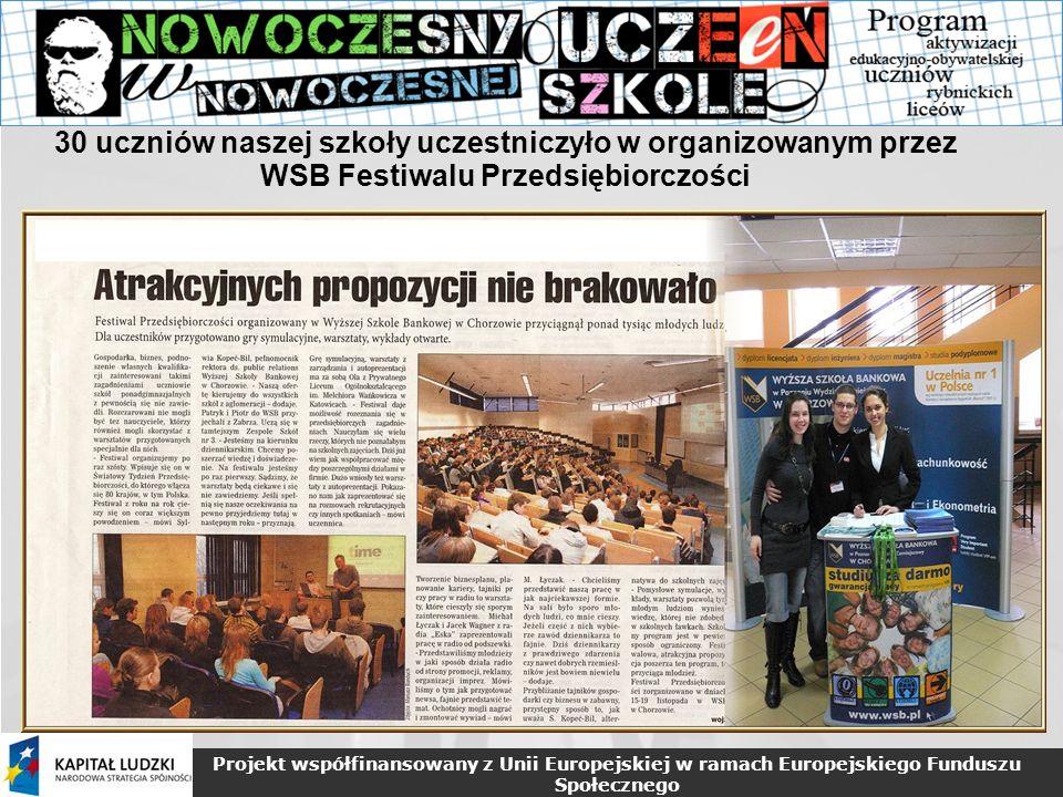 Projekt współfinansowany z Unii Europejskiej w ramach Europejskiego Funduszu Społecznego 30 uczniów naszej szkoły uczestniczyło w organizowanym przez WSB Festiwalu Przedsiębiorczości