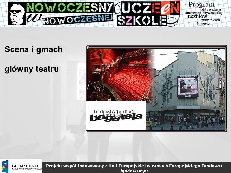 Projekt współfinansowany z Unii Europejskiej w ramach Europejskiego Funduszu Społecznego Scena i gmach główny teatru