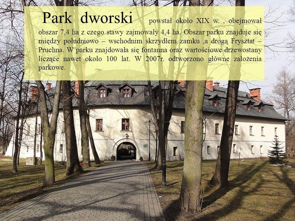Park dworski powstał około XIX w., obejmował obszar 7,4 ha z czego stawy zajmowały 4,4 ha. Obszar parku znajduje się między południowo – wschodnim skr