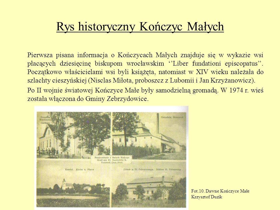 Rys historyczny Kończyc Małych Pierwsza pisana informacja o Kończycach Małych znajduje się w wykazie wsi płacących dziesięcinę biskupom wrocławskim Li