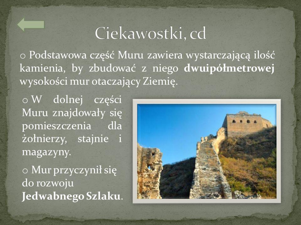 o Podstawowa część Muru zawiera wystarczającą ilość kamienia, by zbudować z niego dwuipółmetrowej wysokości mur otaczający Ziemię. o W dolnej części M