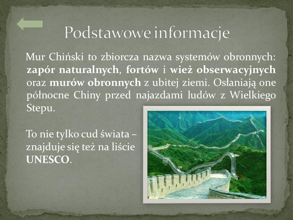 Mur Chiński to zbiorcza nazwa systemów obronnych: zapór naturalnych, fortów i wież obserwacyjnych oraz murów obronnych z ubitej ziemi. Osłaniają one p