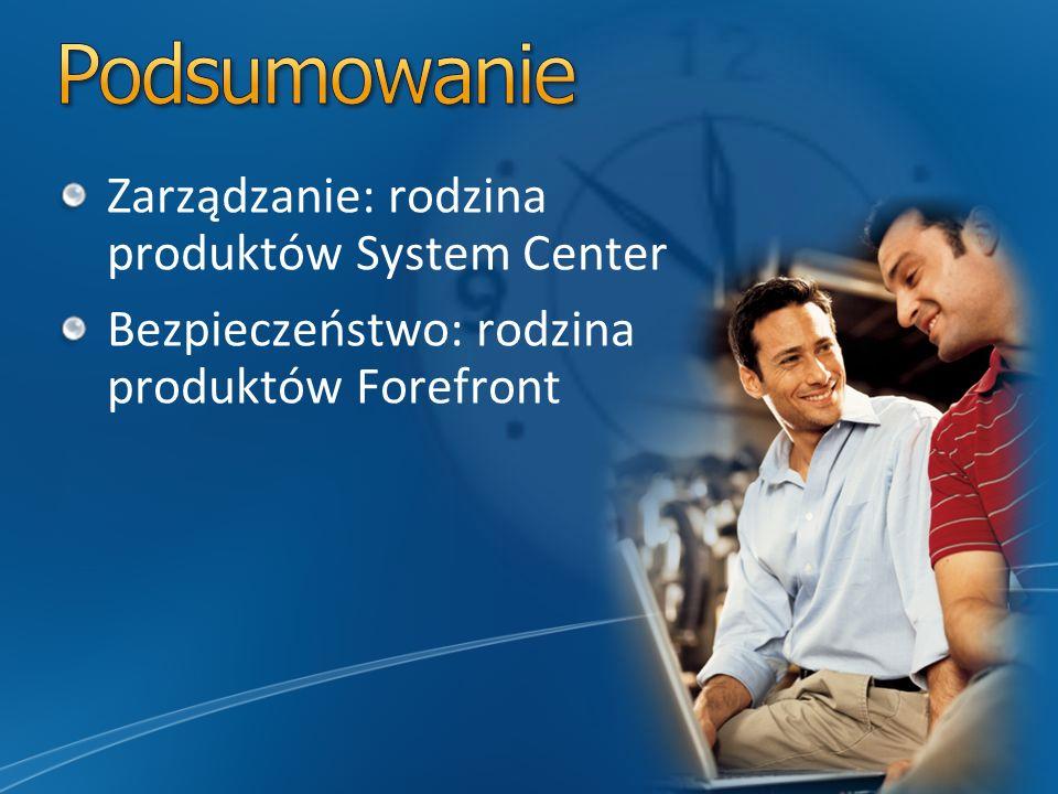 Dostępne produkty Forefront Protection Suite (Device SL) Forefront Protection Suite (User SL) Opis Zbiór usług Forefront Online Services: Forefront Cl