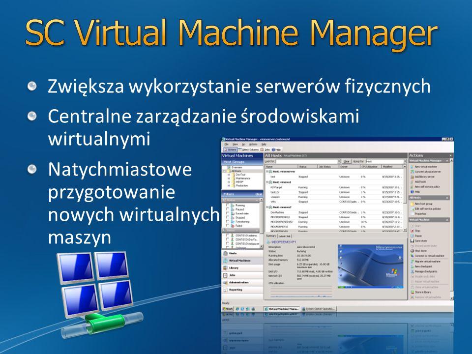 Zwiększa wykorzystanie serwerów fizycznych Centralne zarządzanie środowiskami wirtualnymi Natychmiastowe przygotowanie nowych wirtualnych maszyn