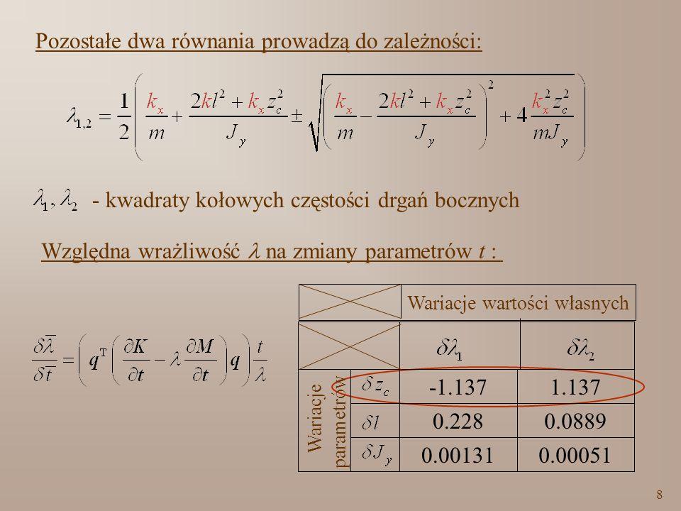 9 Dane do obliczeń: Równania do identyfikacji k x i z c : 1 = (2 f 1 ) 2 = 81,9 rad 2 /s 2,m=9475 10 2 kg, 2 = (2 f 4 ) 2 =1699,09 rad 2 /s 2,J y =4340 10 4 kg m 2, p = (2 f 6 ) 2 =2526,6 rad 2 /s 2,l=3,16 m.