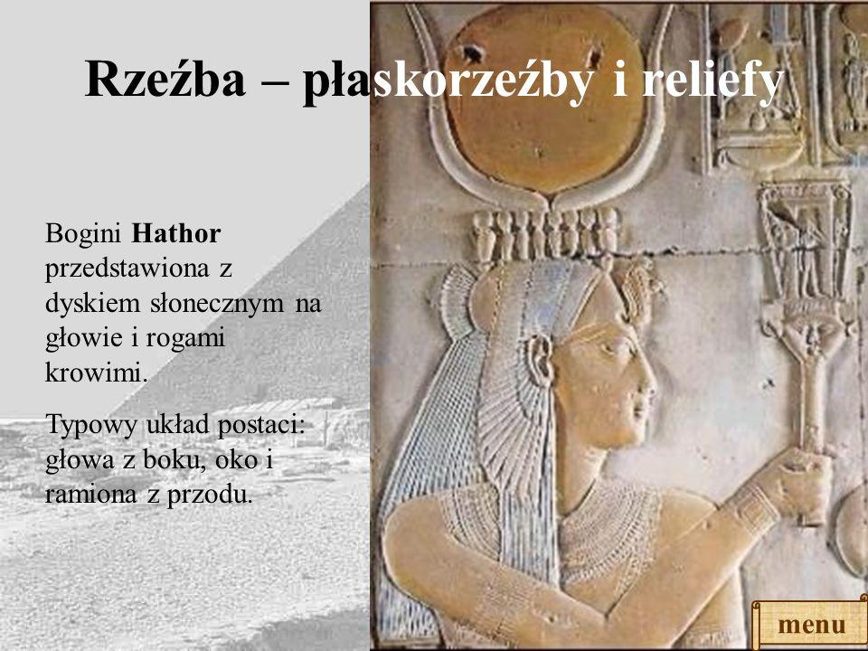 Rzeźba - posągi Faraon Mykerinos i dwie boginie; poza dostojna, pełna godności. Twarz pozbawiona wszelkich uczuć, nieruchoma, ma obojętny wyraz. Ciało