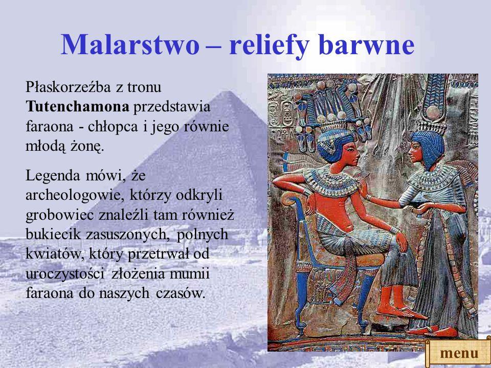 Freski Schemat postaci ludzkiej w malarstwie i reliefach: -brak skrótów perspektywicznych -nogi i głowa widziane z boku, tułów zaś z przodu, oko na wp